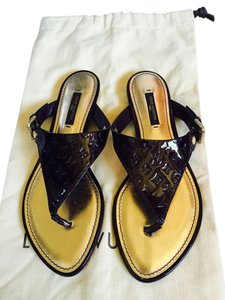 Louis Vuitton Patent Leather Empreinte Brown Sandals