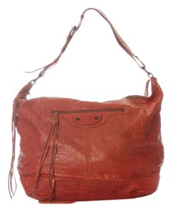 Balenciaga Bg.h1029.13 Red Tan Chevre Tassels Shoulder Bag