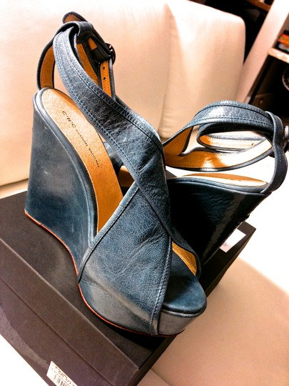 C.N.C. High End Luxury Christian Louboutin Platform Strappy Genuine Designer Prada Miu Miu Premium Saint Laurent Celine Blue Leather Wedges