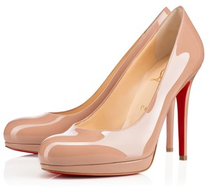 Christian Louboutin Beige New Simple 120mm 36 5.5 Nude Patent Leather Round Toe Platform Pumps Size US 6 Regular (M, B)