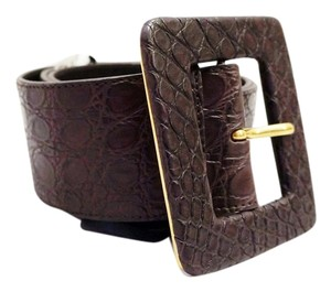 Saint Laurent NEW YVES SAINT LAURENT YSL BROWN CROC EMBOSSED LEATHER WIDE WAIST BELT