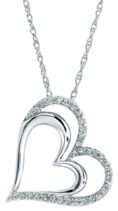 Jared DIAMOND HEART NECKLACE 1/4 CT TW ROUND-CUT STERLING SILVER
