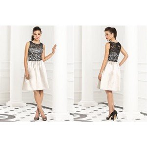 Dessy Ivory With Black Lace 6656 Dress
