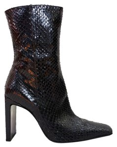Casadei Snake Square Toe Heeled Black Boots