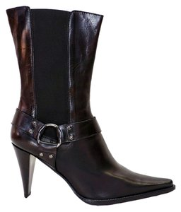 Moschino New Leather Elastic Panel Mid Calf Ring Stud Moto Black Boots