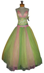 Precious Formals Princess Prom Pageant Party Pink Yellow Green Dress