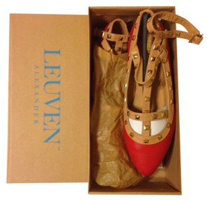 Leuven Alexander Studded Strappy Faux Leather Red and Tan Flats