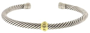 David Yurman David Yurman Cable Classics Single Station Sterling Silver Bracelet w/ Gold