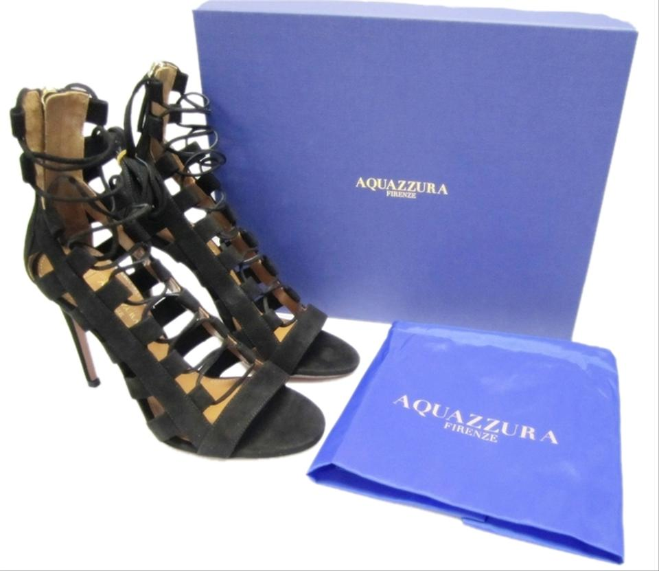 775565a7f566 Aquazzura Firenze Amazon Lace Up Suede Heels Black Sandals Image 9.  12345678910