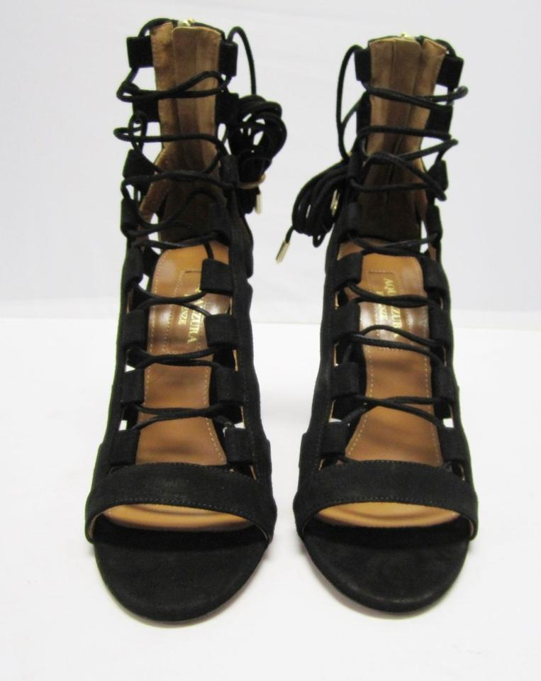 38a1dc86c851 Aquazzura Black Firenze Amazon 105 Suede Lace-up Heels Amzb02c Sandals Size  US 5 Regular (M