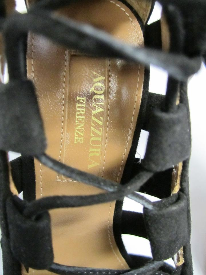 ec9a394d9ad3 Aquazzura Black Firenze Amazon 105 Suede Lace-up Heels Amzb02c Sandals Size  US 5 Regular (M
