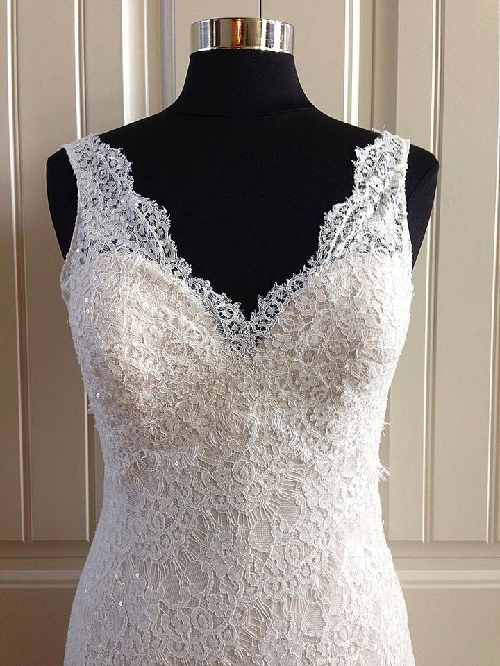 Allure Bridals Gold/Ivory Lace 9201 Feminine Wedding Dress Size 8 (M ...
