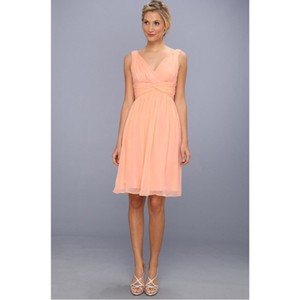 Donna Morgan Peach Fuzz Chiffon Destination Bridesmaid/Mob Dress Size 10 (M)