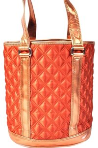 Marc Jacobs Orange Quilted Designer Metalic Women's Cheap Tote in burnt orange