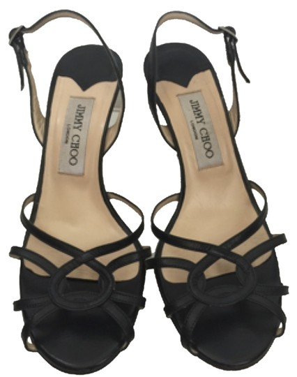 Jimmy Choo Strappy Slingback Leather Open Toe Sandal Black Pumps