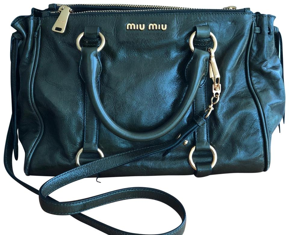 1db212ed470c Miu Miu Shine Double Zip Tote Olive Green Textured Vitello Calfskin ...