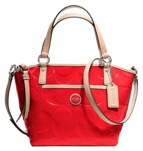 Coach Satchel in Vermillion/Tan