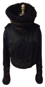 Burberry Prorsum Shearling Aviator Bomber Zipper Leather Suede Piping Motorcycle Military Jacket