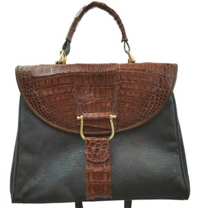 Croc Leather Black Suede Satchel
