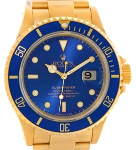 Rolex Rolex Submariner 18k Yellow Gold Blue Dial Watch 16618