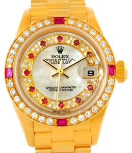 Rolex Rolex President Ladies Yellow Gold Myriad Diamonds Rubies Watch 79068