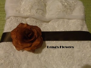 Handmade Silk Brown Rose On Brown Satin Ribbon Sashes. Bridal Sashes.