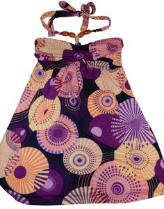 Julie's Closet Floral Asian Aztec Beaded Summer Colorful Bright Vintage Multi Colored, Purple Halter Top
