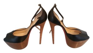 Christian Louboutin Amy Kid 160 T-strap Pumps Black & Brown Platforms