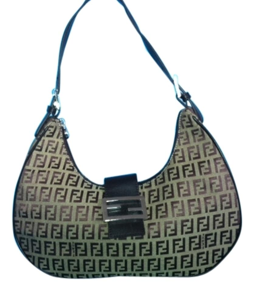 3a91f167abf1 Fendi Zucca Pattern Hand Vintage Italy Chocolate Brown Nylon with ...