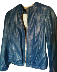Uterqüe Royal Blue Leather Jacket