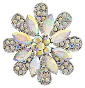 MEME CHIC Ab Glass & Rhinestone Flower Brooch