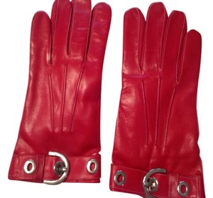 Coach Coach Red Leather Gloves