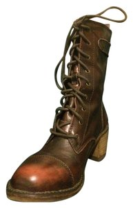 Rocket Dog Rustic Leather Marbled Front-lace Buckle Strap Brown Boots