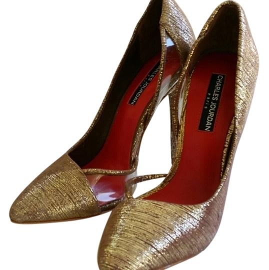 Charles Jourdan Shimmery Gold/Brown d'Orsay Pumps