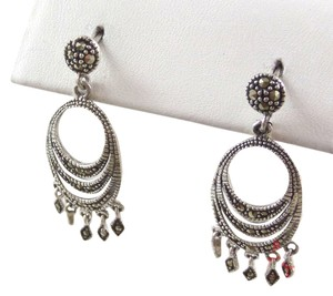 A.B.L. Sterling Silver Vintage 925 Chandelier Marcasite Earrings (4.5g)
