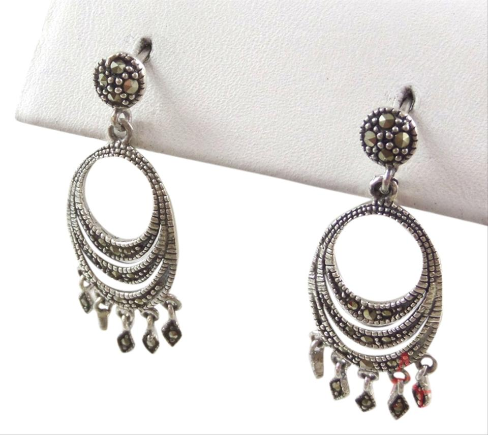 Sterling silver marcasite vintage 925 chandelier 45g earrings abl sterling silver vintage 925 chandelier marcasite earrings 45g aloadofball Image collections