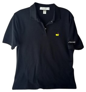 Masters Polo Shirt Augusta National Cotton Button Down Shirt Black with Authentic Masters Gold Logo