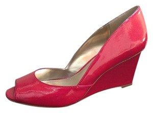 Alfani Patent Leather Peep Toe Cherry red Wedges