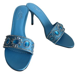 Starlet Satin Open Toe Blue Sandals