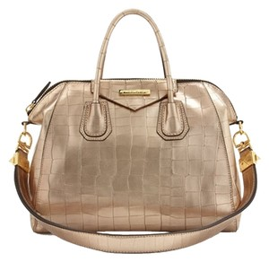 Charles Jourdan Crocodile Cross-body Satchel in gold
