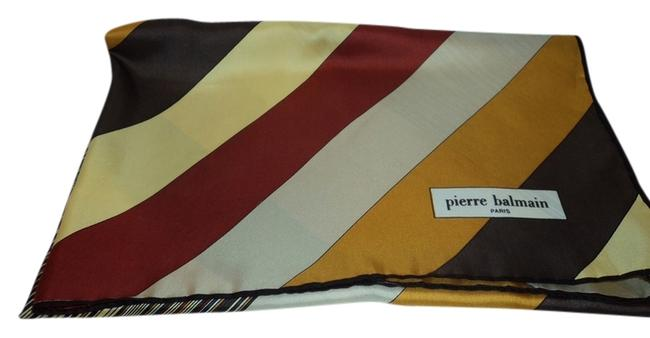 Item - Mixed Gold Red Beige Brown Silk Scarf/Wrap