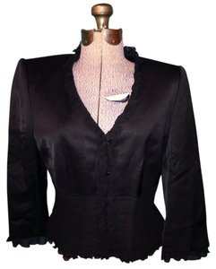 Tahari Ruffle Button Balls Black Jacket