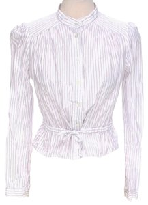 See by Chlo Longsleeve Pinstripe Tie Button Down Shirt White & Purple