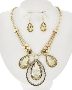Sophia Collection Lt.colorado Topaz Glass Necklace & Earrings