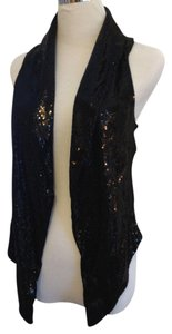Other Sequin Vest Tie Dressy Festive Top Black