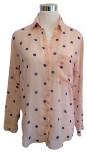 Garage Polka Dot Sheer Top pink & blue