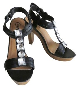 Candie's Embellished Stones Black Sandals