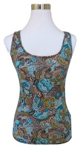 Lucky Brand Bohemian Paisley Top Olive Brown Turquoise