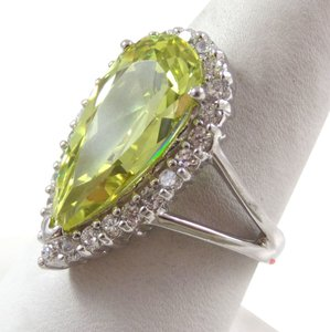 Sears Sterling Silver Vintage 925 Cocktail Tear Drop Peridot Ring With White Topaz, Sz 9.25 (8.7g)