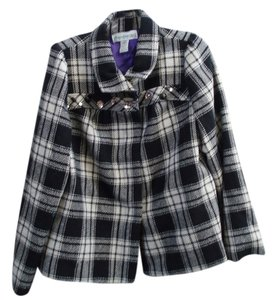 Denim 24/7 Studded Black and White Plaid Jacket